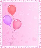Tarjeta de felicitación romántica con globos — Vector de stock