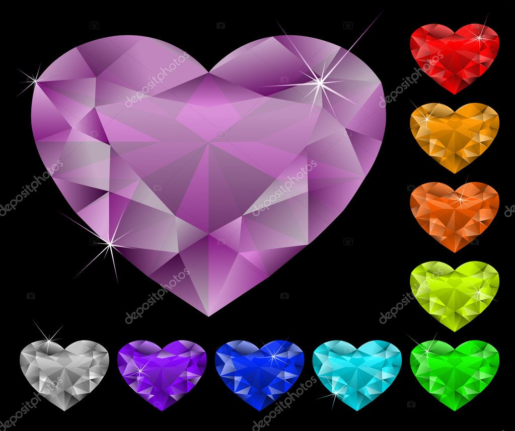 Set of heart-shaped gems. All gems are on different layers. — Stock Vector #3657392
