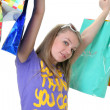 The beautiful girl with purchases — Foto Stock