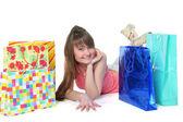 A linda garota com compras — Foto Stock