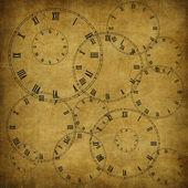 从旧纸张和时钟复古卡 — 图库照片