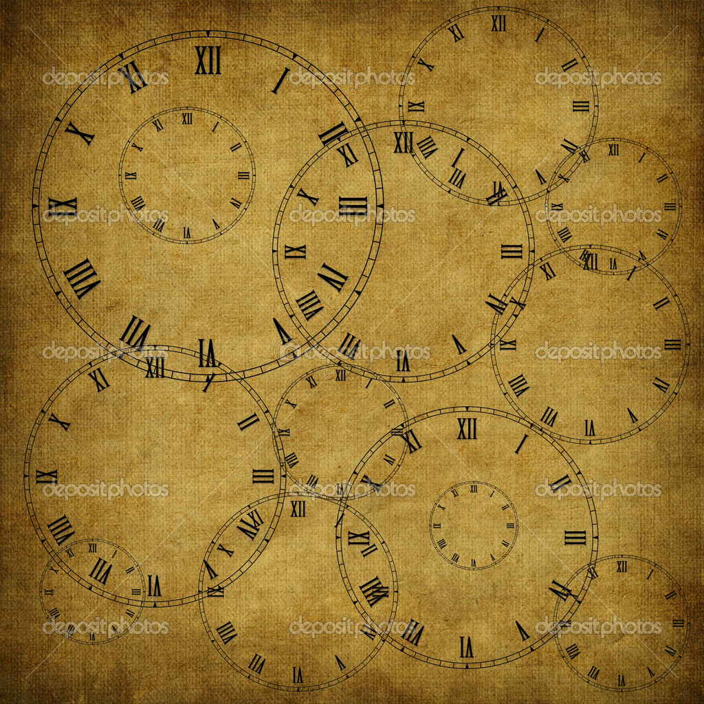 Vintage card from old paper and clock on the abstract background  Stock Photo #2749075