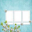 Card for holiday with flowers — 图库照片