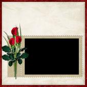 Carta d'epoca per la vacanza con fiore — Foto Stock