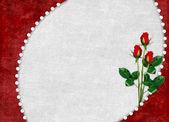 赤いバラと休日のためのカード — ストック写真