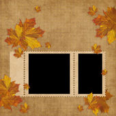 Autumn card for the holiday with leave and flowers — Stock Photo