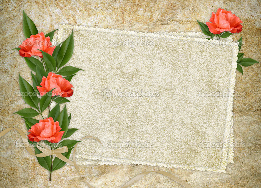 Vintage card for the holiday with red rose on the abstract background — Stock Photo #3672596