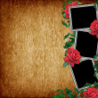 Vintage card for the holiday with red rose - Foto de Stock