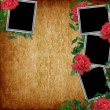 Foto Stock: Vintage card for the holiday with red rose