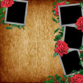 Vintage card for the holiday with red rose — ストック写真