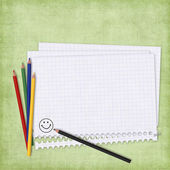 School card with paper and pencils — Stock Photo