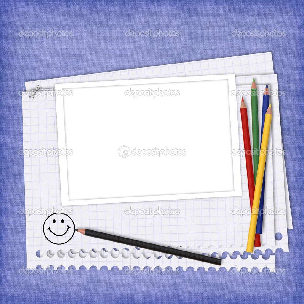 School card with paper and pencils on the abstract background  Stock Photo #3837444