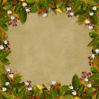 Card for the holiday  with autumn leaves - Stok fotoraf