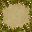 Card for the holiday  with autumn leaves -  