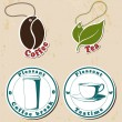 Coffe and tea stamps and tags set. — Stock Vector