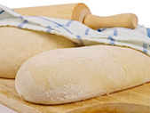 Wheat bread dough. Close up. Ready for the owen — Stock Photo