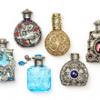 Stock Photo: Six perfume bottles