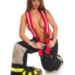 sexy vrouwelijke brandweerman — Stockfoto