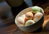 Selection of duck and chicken eggs with — Stock Photo