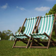 Deckchairs in Hyde Park, London — Stock Photo