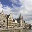 Ghent Graslei on the waterfront in Belgium - Stock Photo