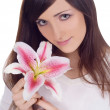 Brightly portrait of young lovely brunette — Stock Photo