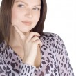 Lovely young woman over white — Stock Photo