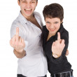 Man and woman showing middle finger — Stock Photo