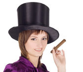 Lovely girl in top hat (cylinder) — Stock Photo