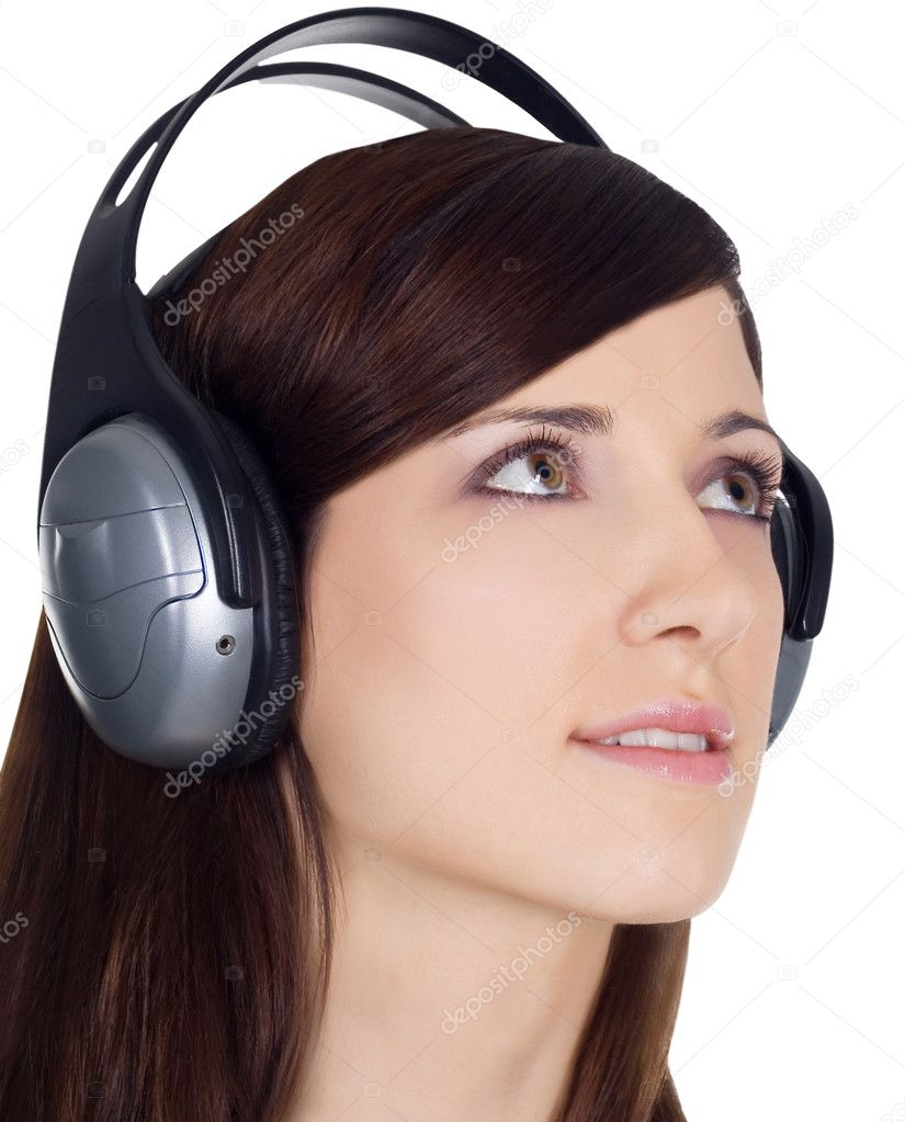 Young woman in headphones listening music — Stock Photo #2762806