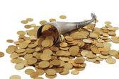 Cornucopia bone full of gold coin — Stock Photo
