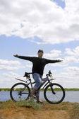 Happy biker — Stock Photo