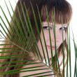 Woman hiding behind the palm leaf — Stock Photo