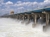 Water at hydroelectric power station — Stock Photo