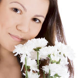 Sexy woman with a white flower. — Stock Photo