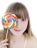 Bright picture of happy blonde with color lollipop — 图库照片