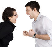 Angry couple yelling at each other. — Stock Photo