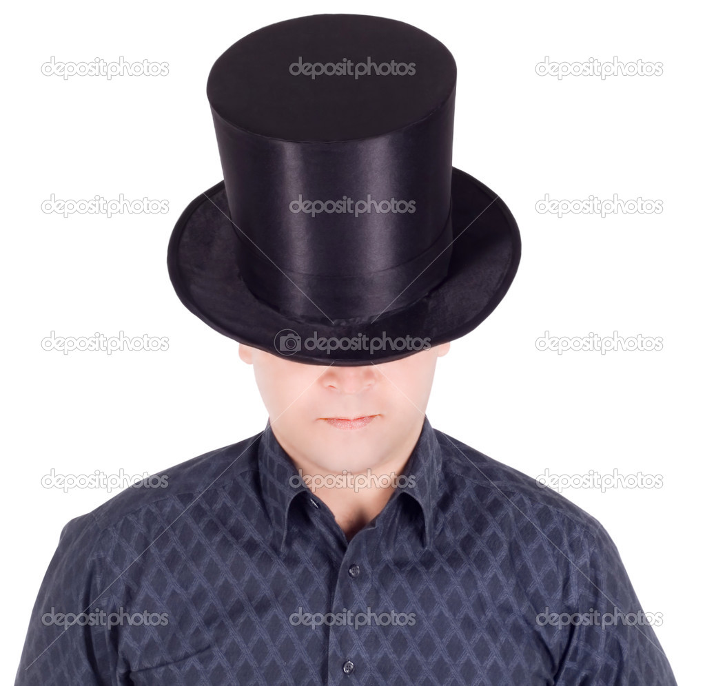 Brightly pictures of cheerful man in top hat (cylinder)  Stock Photo #3645175