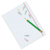 пустой лист бумаги с блокнот и карандаш — Cтоковый вектор