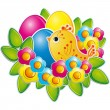 Easter eggs with a cute chicken — Stock Vector