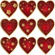 Set of hearts - Imagens vectoriais em stock