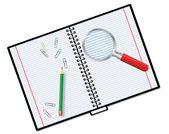 Notebook e lente d'ingrandimento — Vettoriale Stock