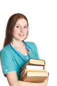 Portrait of doctor with books — Stock Photo