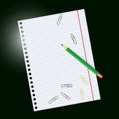 Empty sheet of paper from a notebook and crayon — Stock Vector