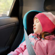 Royalty-Free Stock Photo: Little girl sleeping in a car