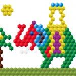Funny mosaic elephant — Stock Vector