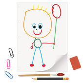 Kids' drawings - a gift for Mom and Dad — Stockvector