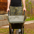 Man with wheelbarrow doing yard work — Stock Photo