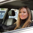 Pretty woman in her new car - Stock Photo