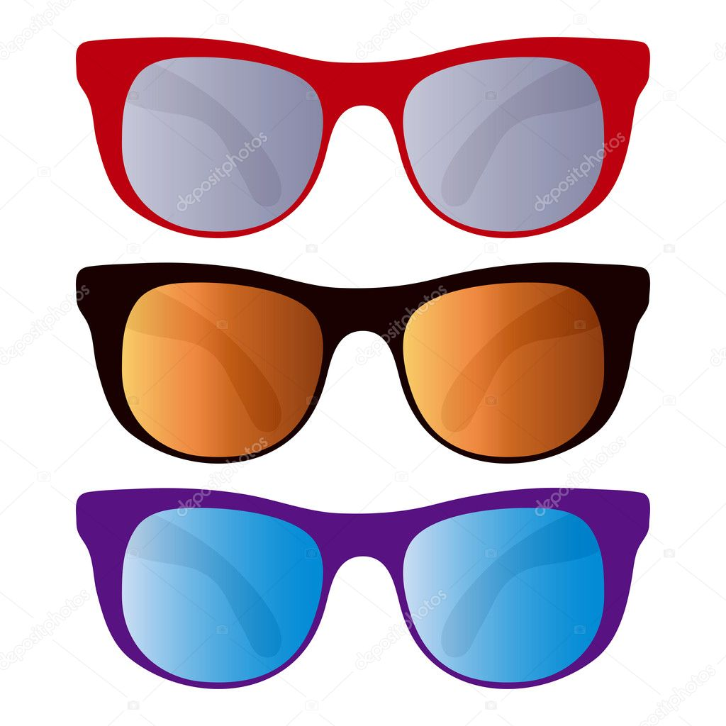 Collection of colorful sunglasses isolated on white background. — Stock Vector #3251481